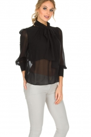 ELISABETTA FRANCHI |  Blouse with bow Sorella | Black  | Picture 2