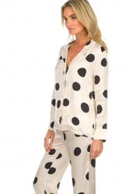 Love Stories |  Satin polkadot pyjama blouse Blue Moon | white  | Picture 5