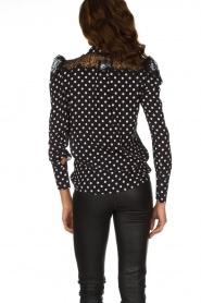 ELISABETTA FRANCHI | Gestipte blouse met kant | zwart  | Afbeelding 5