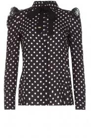 ELISABETTA FRANCHI | Gestipte blouse met kant | zwart  | Afbeelding 1