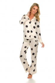 Love Stories |  Satin polkadot pyjama pants Billy | white  | Picture 3