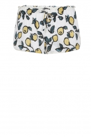 Love Stories |  Printed satin pyjama shorts Audrey Lemon | white  | Picture 1