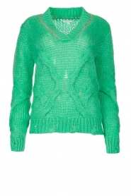 Patrizia Pepe |  Sweater with chain detail Colinda | green  | Picture 1