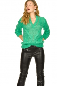 Patrizia Pepe |  Sweater with chain detail Colinda | green  | Picture 4