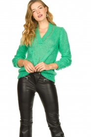 Patrizia Pepe |  Sweater with chain detail Colinda | green  | Picture 2