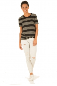 Linen T-shirt Annette | black and white