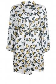 Love Stories |  Printed satin kimono gown Jolie | white  | Picture 1