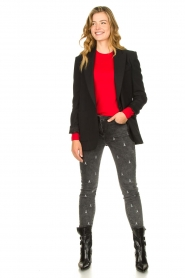 Patrizia Pepe |  Skinny jeans with logo embroideries Ray | grey  | Picture 3