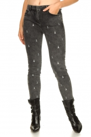 Patrizia Pepe |  Skinny jeans with logo embroideries Ray | grey  | Picture 4
