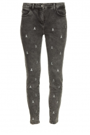 Patrizia Pepe |  Skinny jeans with logo embroideries Ray | grey  | Picture 1