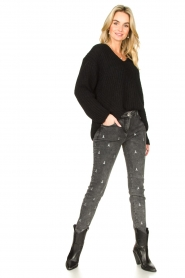Patrizia Pepe |  Skinny jeans with logo embroideries Ray | grey  | Picture 2