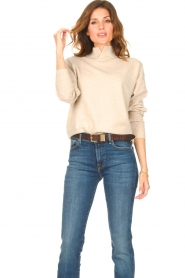 Knit-ted | Merino trui Mia | beige  | Afbeelding 5