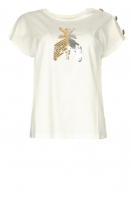 Patrizia Pepe |  T-shirt with sequins Cato | white  | Picture 1
