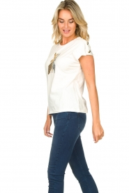 Patrizia Pepe |  T-shirt with sequins Cato | white  | Picture 5