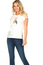 Patrizia Pepe |  T-shirt with sequins Cato | white  | Picture 4