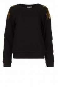 Patrizia Pepe |  Sweatshirt with sequins Yana | black  | Picture 1