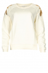 Patrizia Pepe |  Sweater with sequins Sanna | white   | Picture 1
