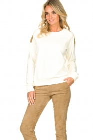 Patrizia Pepe |  Sweater with sequins Sanna | white   | Picture 2