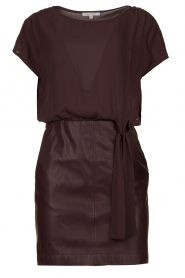 Patrizia Pepe |  Dress with faux leather skirt Rita | purple  | Picture 1