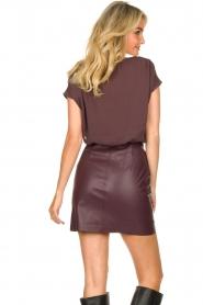 Patrizia Pepe |  Dress with faux leather skirt Rita | purple  | Picture 8