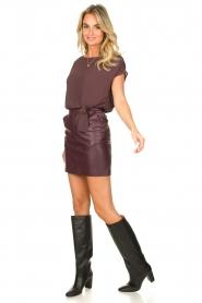 Patrizia Pepe |  Dress with faux leather skirt Rita | purple  | Picture 3