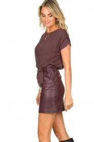 Patrizia Pepe |  Dress with faux leather skirt Rita | purple  | Picture 7