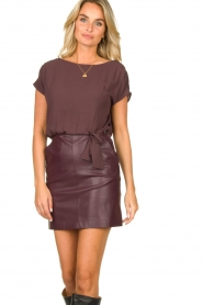 Patrizia Pepe |  Dress with faux leather skirt Rita | purple  | Picture 4