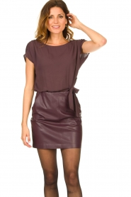 Patrizia Pepe |  Dress with faux leather skirt Rita | purple  | Picture 4