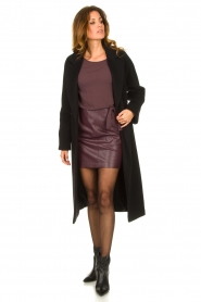 Patrizia Pepe |  Dress with faux leather skirt Rita | purple  | Picture 3