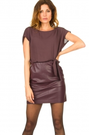 Patrizia Pepe |  Dress with faux leather skirt Rita | purple  | Picture 2