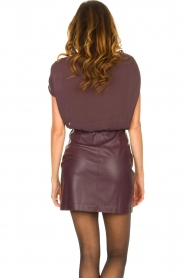 Patrizia Pepe |  Dress with faux leather skirt Rita | purple  | Picture 6