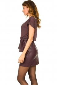 Patrizia Pepe |  Dress with faux leather skirt Rita | purple  | Picture 5