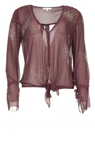 Patrizia Pepe |  Blouse with rhinestones Rina | purple  | Picture 1