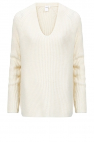 Knit-ted |  Knitted sweater with v-neck Sara | ivory  | Picture 1