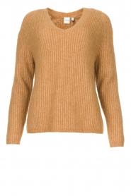 Knit-ted | Gebreide trui met v-hals Sara | camel  | Afbeelding 1