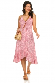 BEACHGOLD |  Leopard printed midi wrap dress Lottie | pink  | Picture 3
