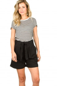 Set    Striped linen T-shirt Anna   black & white    Picture 2