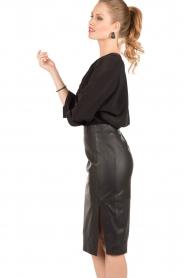 Silk blouse Fan   black