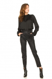 Knit-ted |  Faux leather pants Frida | black  | Picture 3