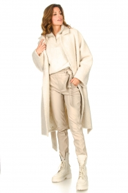 Knit-ted |  Faux leather pants Frida | natural  | Picture 3