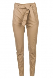 Knit-ted |  Faux leather pants Frida | cognac  | Picture 1