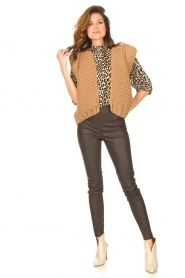 Knit-ted |  Faux leather leggings Amber | brown  | Picture 3