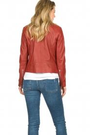 Set |  Leather biker jacket Allister | bordeaux  | Picture 7
