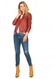 Set |  Leather biker jacket Allister | bordeaux  | Picture 3