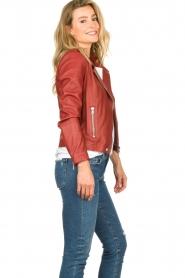 Set |  Leather biker jacket Allister | bordeaux  | Picture 6