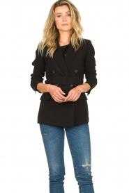 Set | Blazer met riem Amber | zwart  | Afbeelding 4
