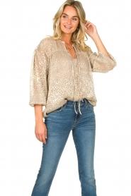 Dante 6 |  Leopard print blouse Lorelie | beige  | Picture 4