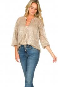 Dante 6 |  Leopard print blouse Lorelie | beige  | Picture 5