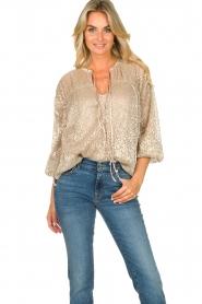 Dante 6 |  Leopard print blouse Lorelie | beige  | Picture 2