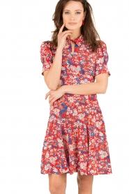 Tara Jarmon | Zijden jurk Birdy | rood  | Afbeelding 2